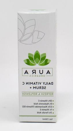 Aura Organics Daily Vitamin C Serum with Hyaluronic Acid Dar