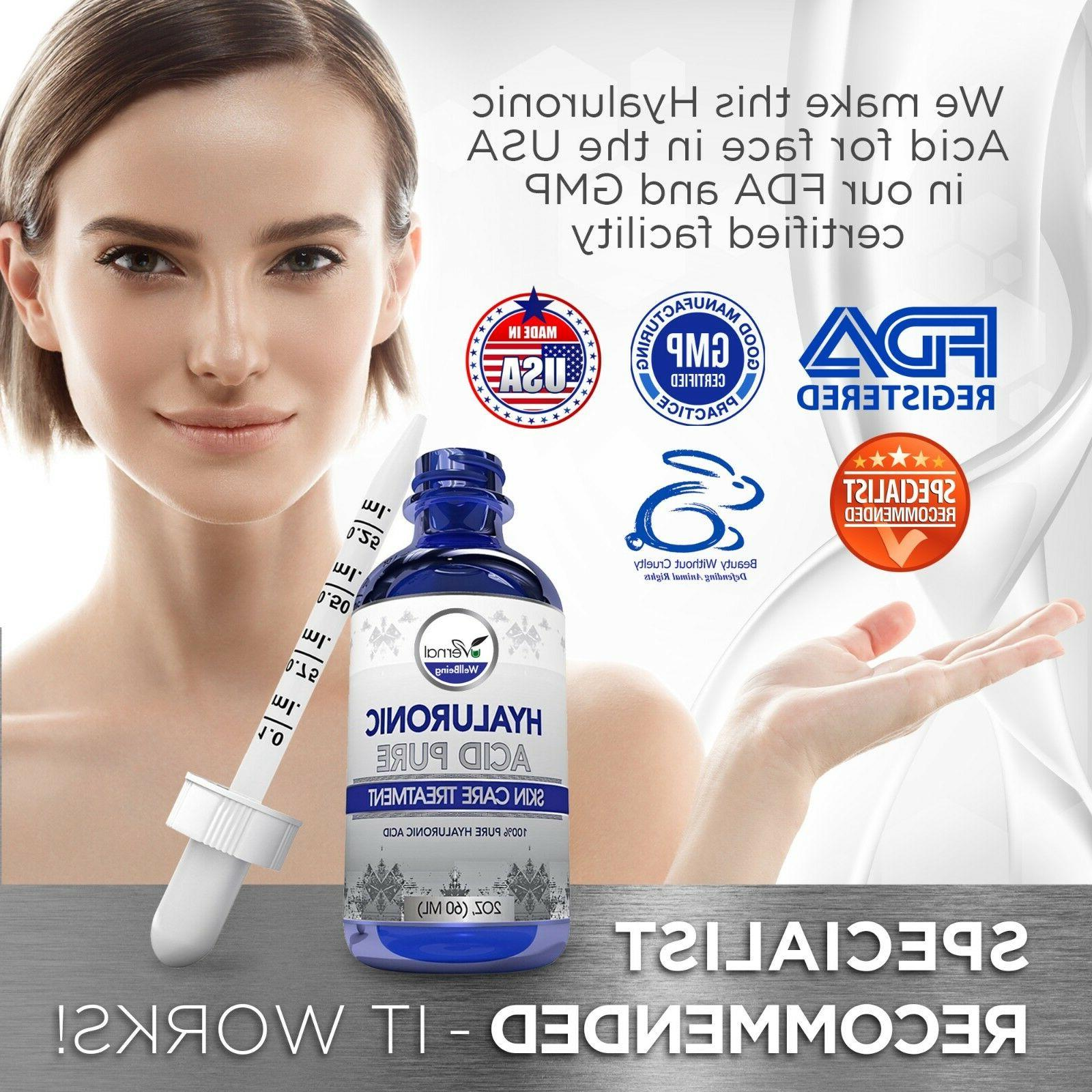 ❤ 100% Pure HYALURONIC ACID Anti-Aging-Plumps 2oz