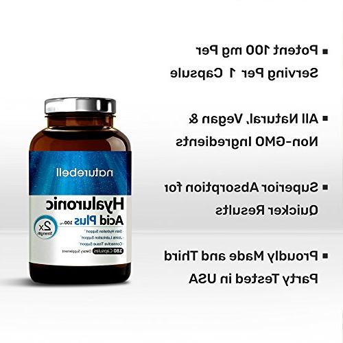 Maximum Strength Hyaluronic Acid, 100mg,180 Powerfully Skin Lubrication. Soy Gluten and in USA.