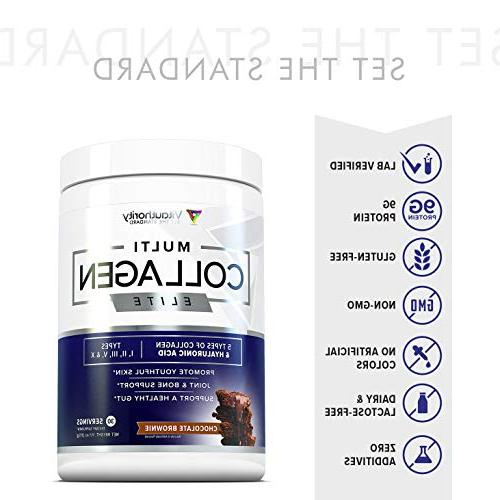 Multi Anti and Hydrolyzed Collagen Protein Peptides Chicken, Eggshell, II III V Chocolate Brownie, 30srv