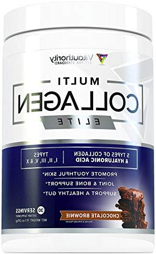 Multi Collagen Elite Powder: Anti Youth Powder | and Hydrolyzed Peptides from Beef, Chicken, Eggshell, Types II III V Chocolate Brownie,