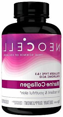 Neocell Marine Collagen, 120ct Collagen Pills with Hyaluroni